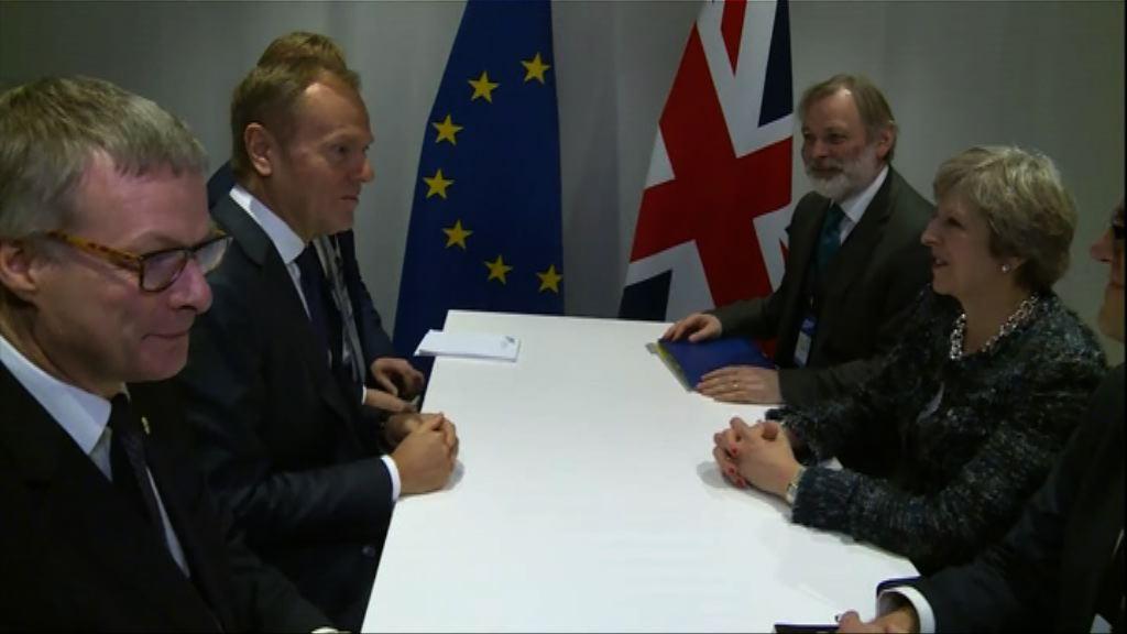 文翠珊與圖斯克商討脫歐談判進展