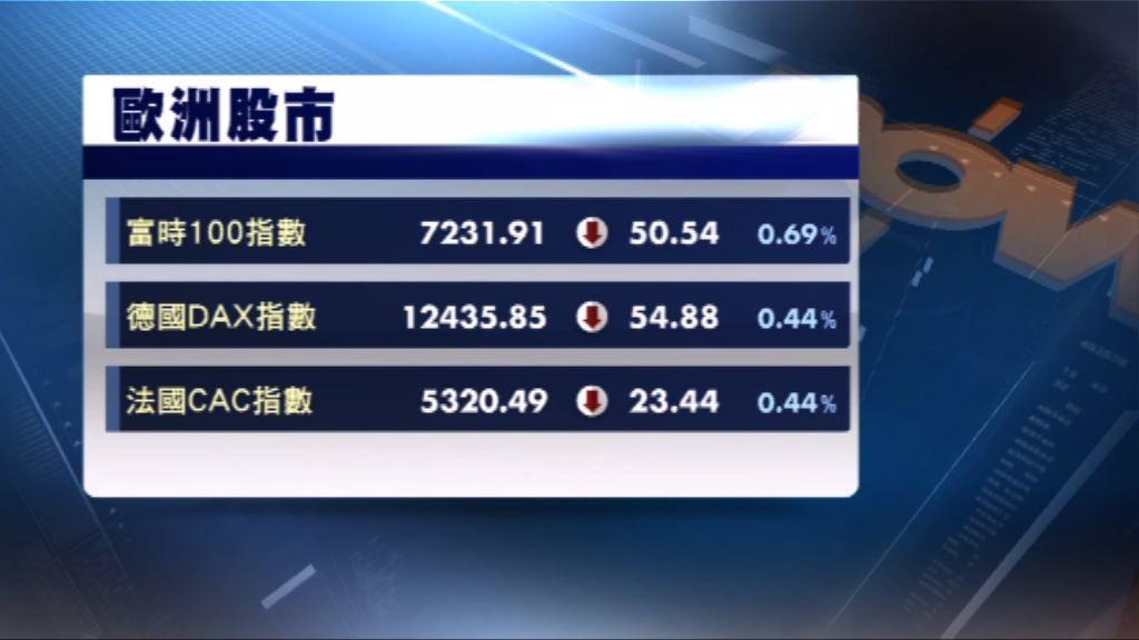 歐洲三大股市連續第2天低收