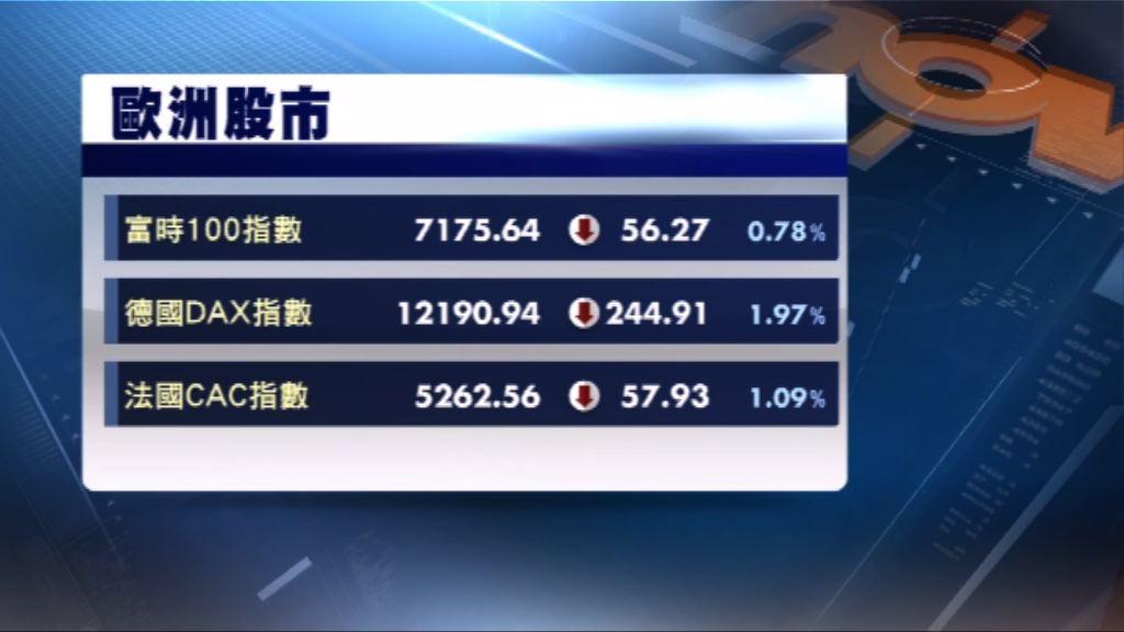 歐洲三大股市連跌3天