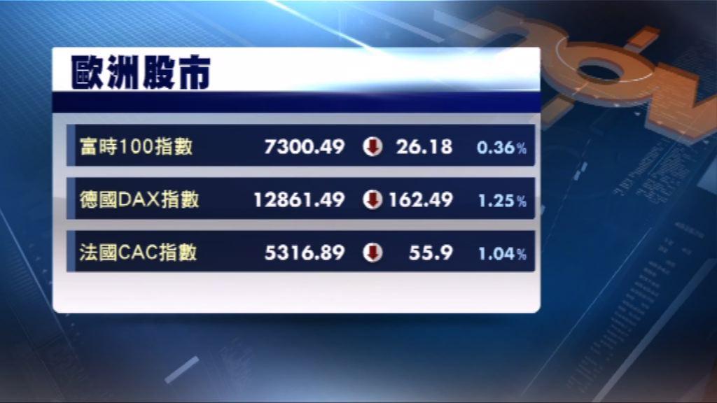 歐洲三大股市反覆下跌