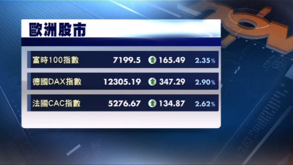 歐洲三大股市收市顯著上升