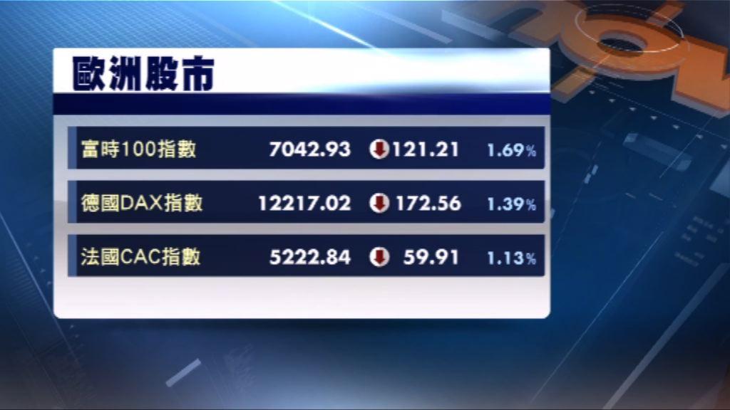 歐洲三大股市挫逾百分之1