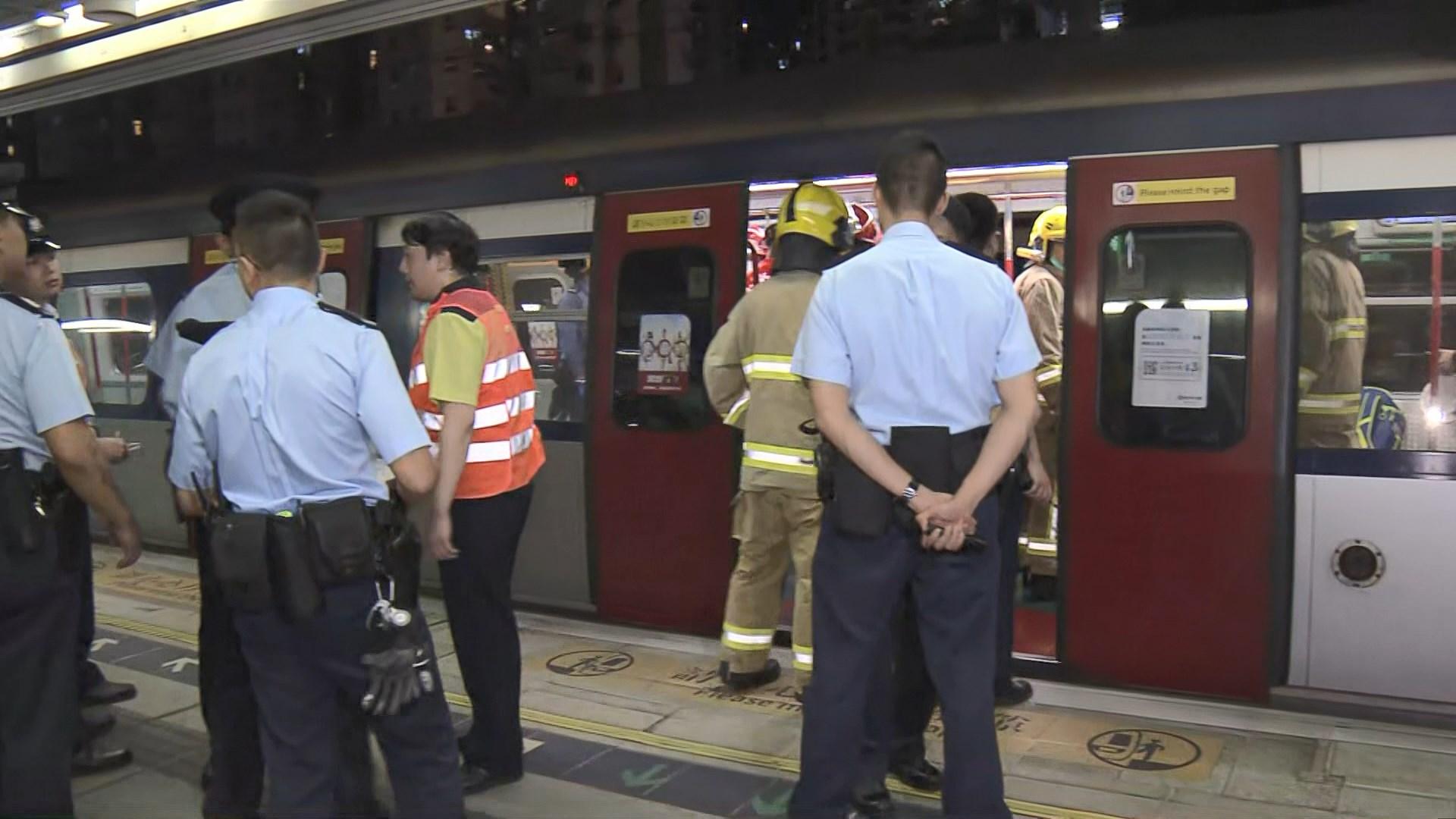 港鐵大圍站有人墮軌 列車服務受阻