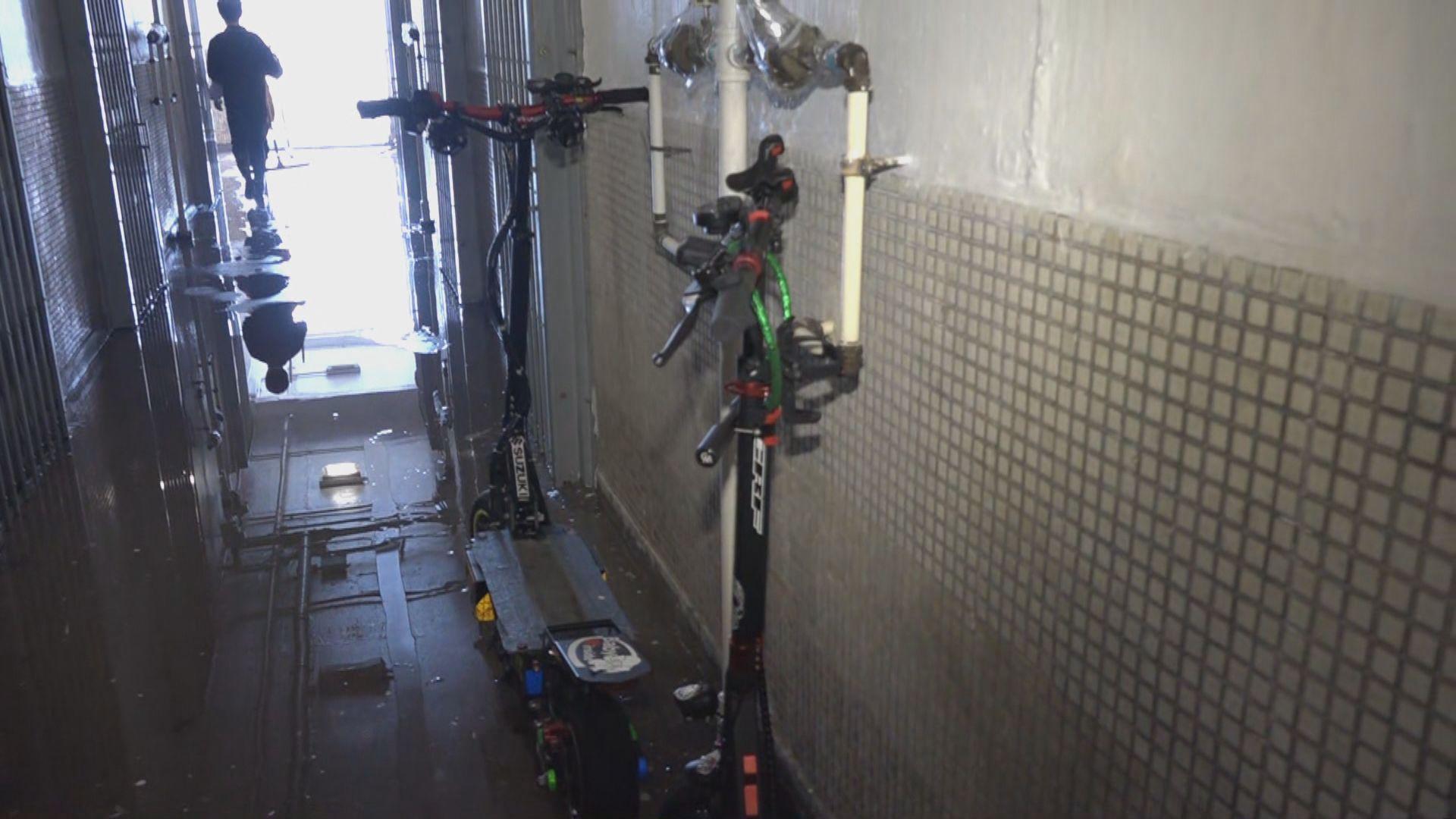 沙角邨火警 鄰居稱走廊長期擺放多輛電動滑板車