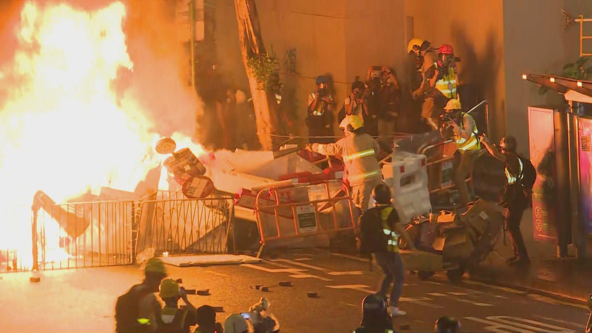 消防處:無需消防車輛掩護警方行動