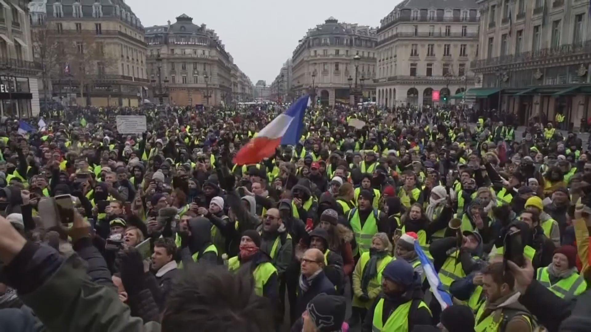 法國巴黎連續第五周有黃背心示威