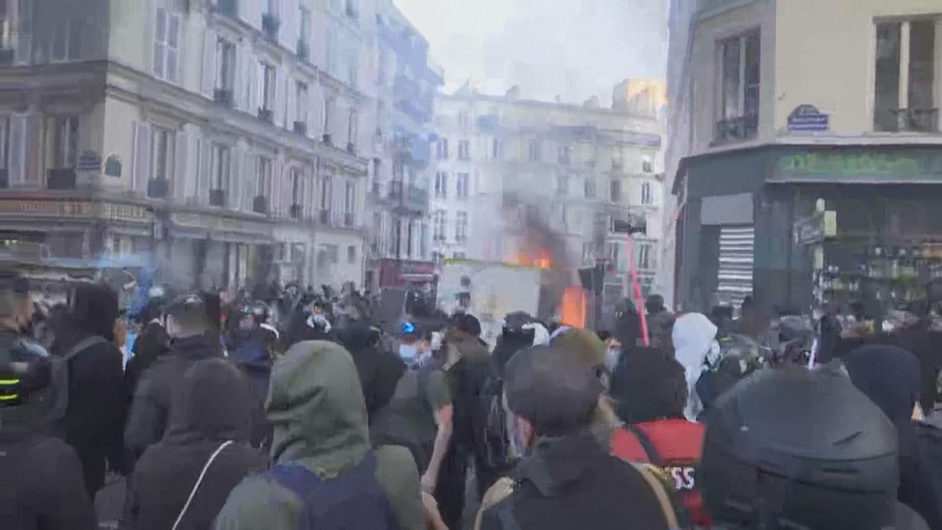 法國多地示威反對保護警察法案