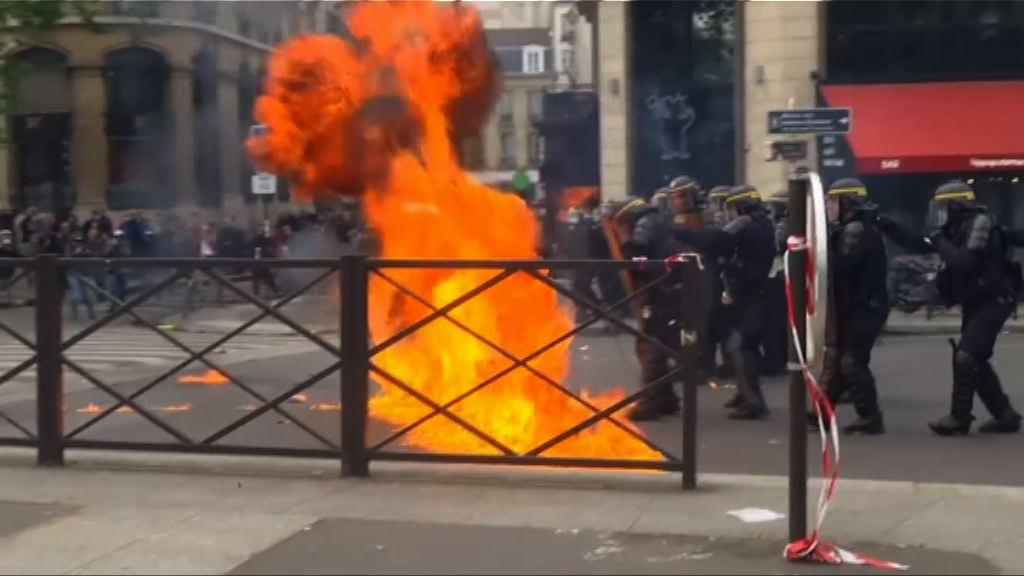 法國勞動節示威演變成衝突