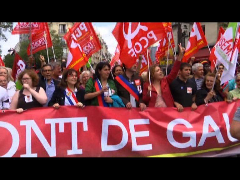 法國左翼人士示威抗議緊縮政策