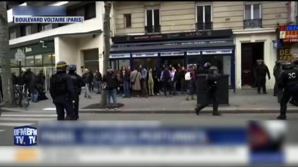 法國大罷工 巴黎有青年鬧事遭警方驅趕