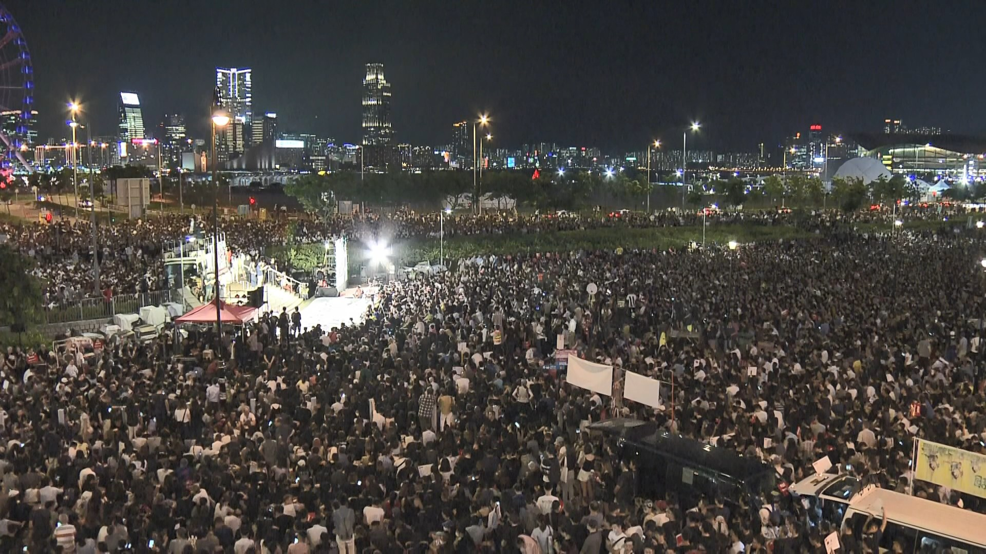 民陣反修例集會 人潮迫出龍和道馬路