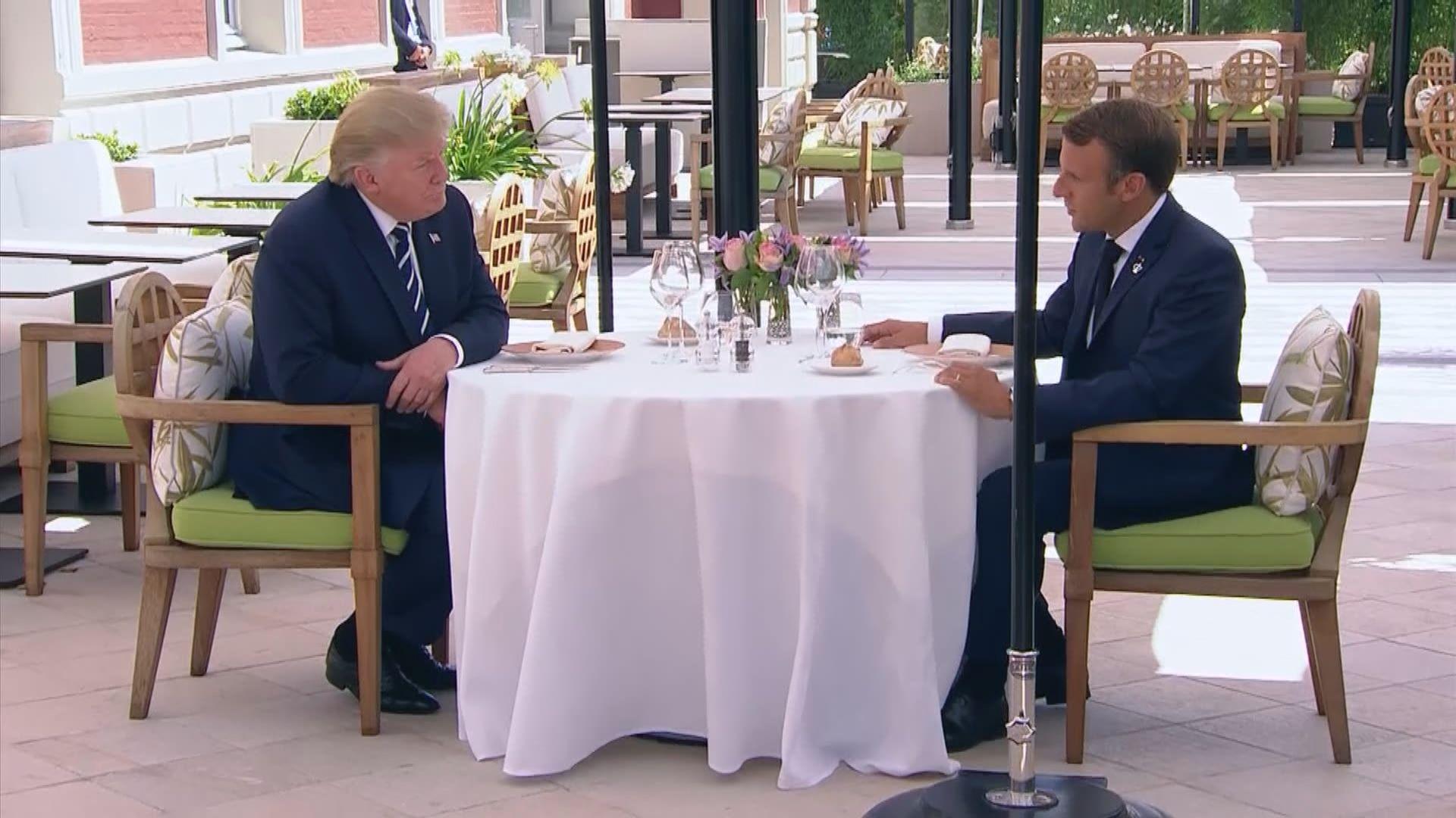 馬克龍與特朗普共晉午餐