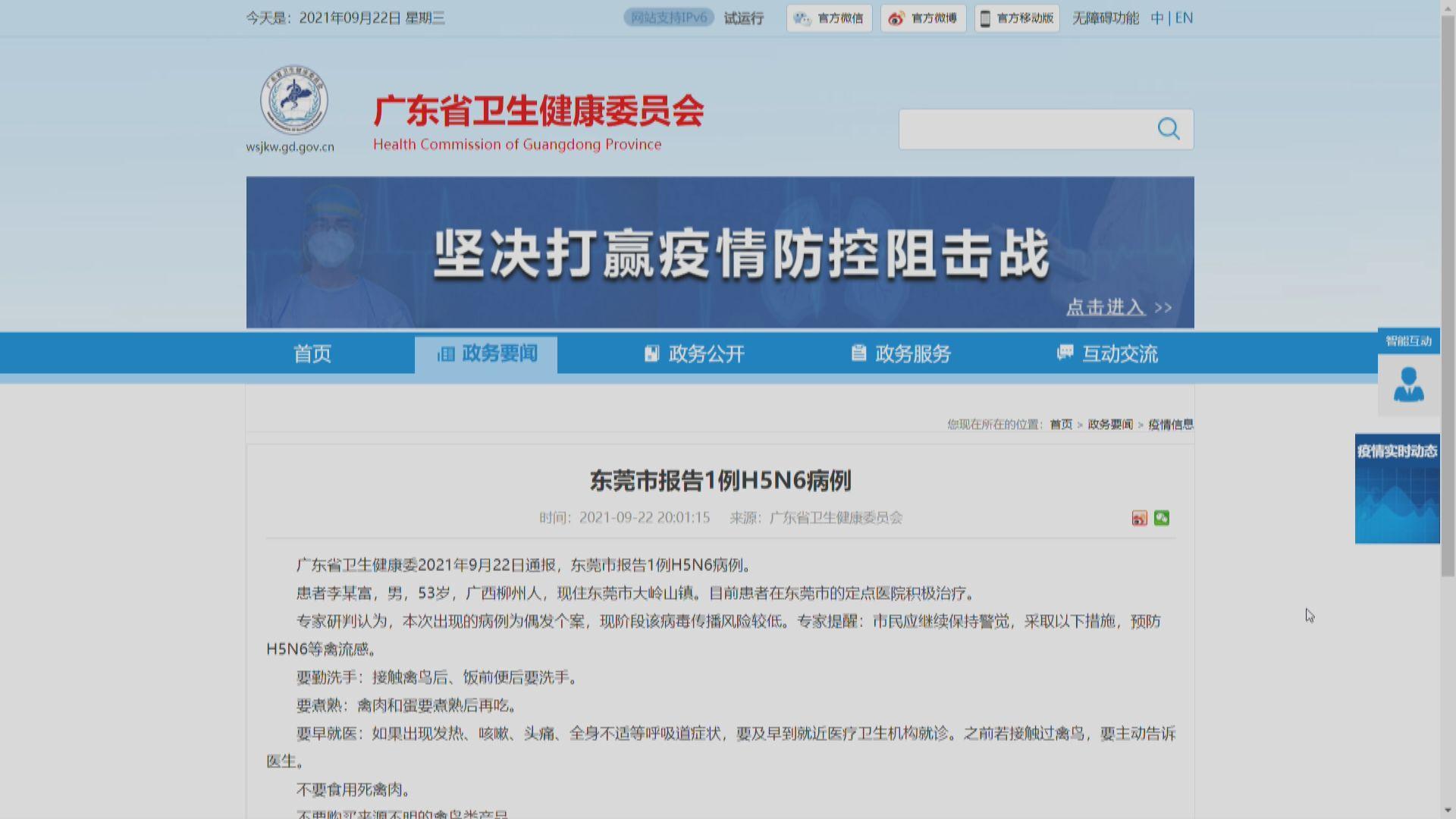 東莞增一宗H5N6禽流感 專家:偶發個案 傳播風險較低