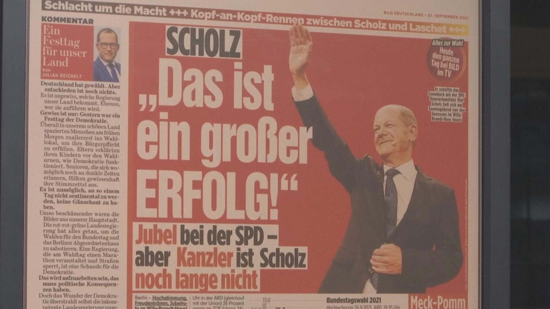 德國大選票站調查顯示社民黨些微優勢領先