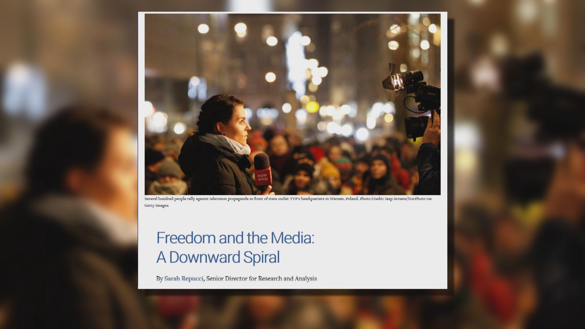 報告指全球新聞自由持續惡化
