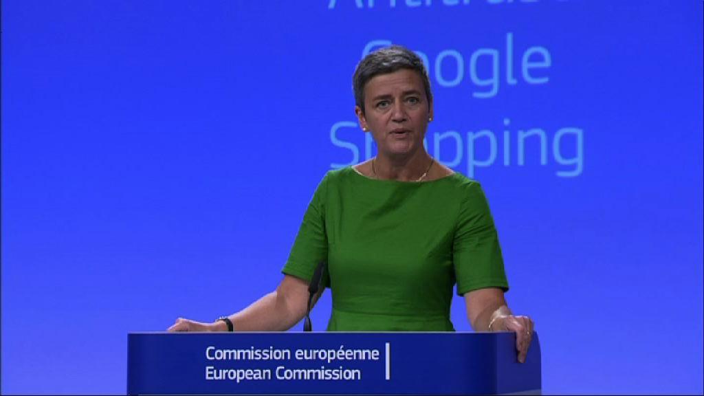 歐盟指Google壟斷罰款逾廿億歐元