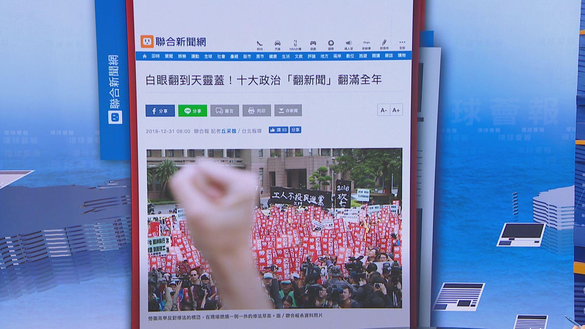 【環球薈報】台灣選出「翻」字為年度代表字