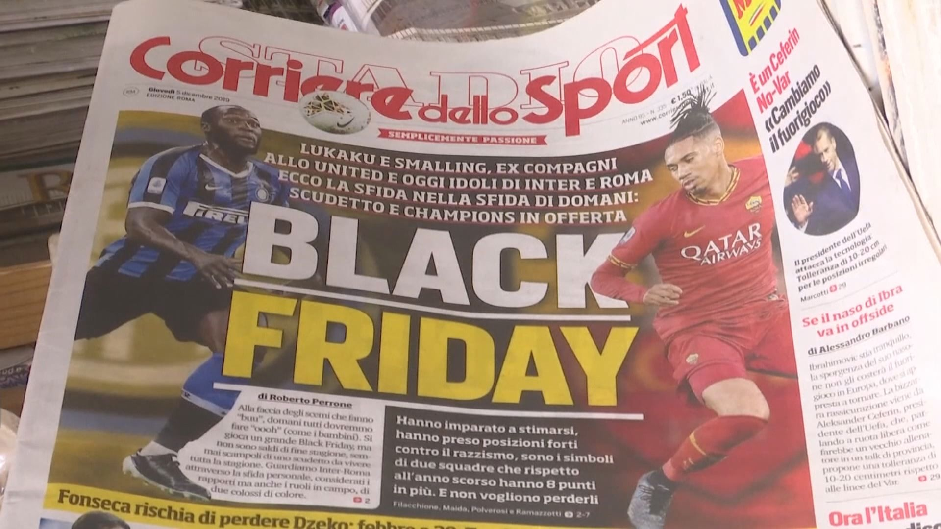 【環球薈報】羅馬體育報標題被指涉種族歧視