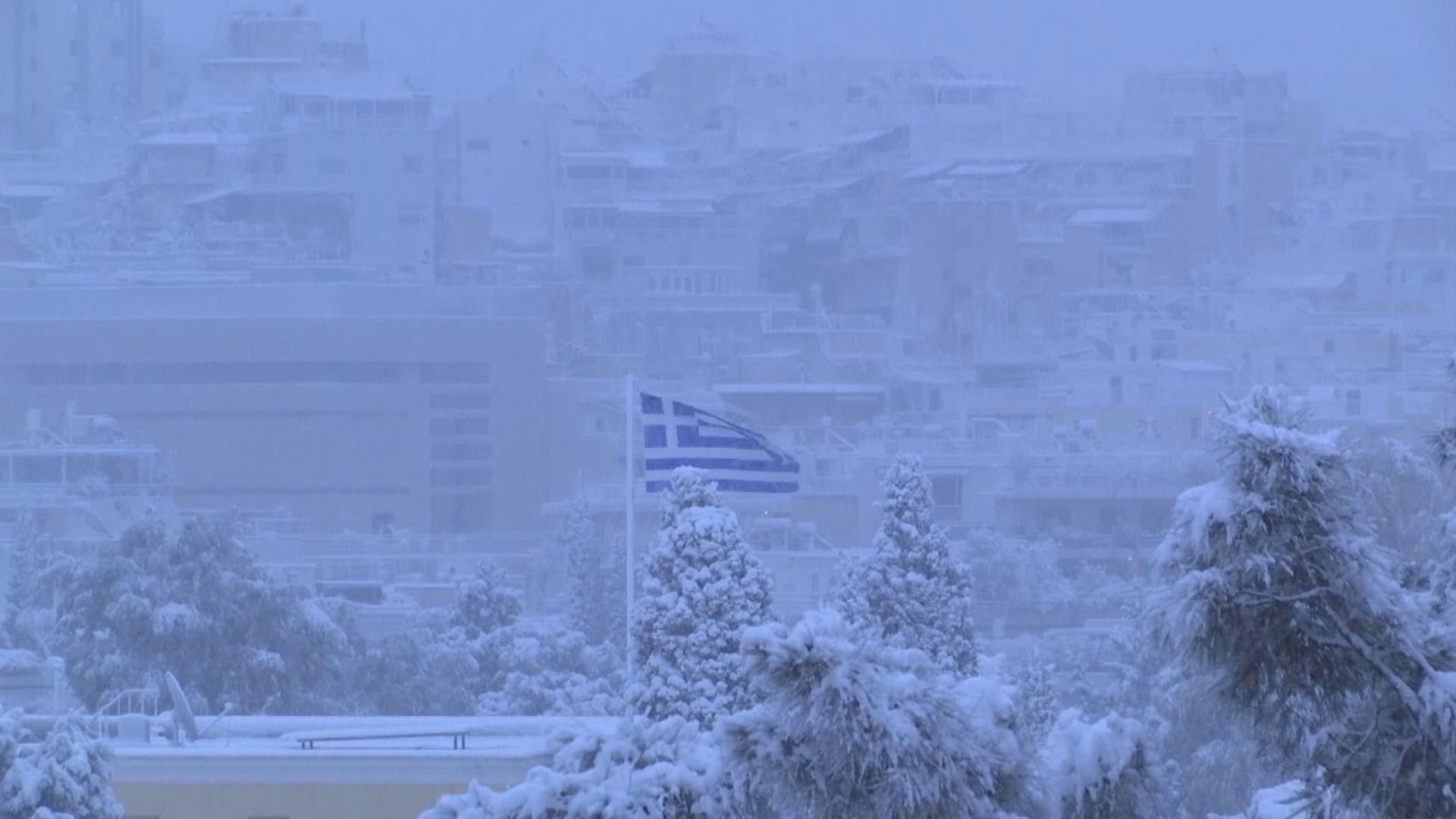 希臘雅典受冷鋒影響持續下大雪