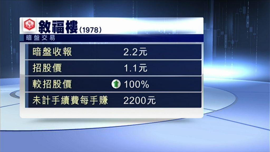 【新股回勇】叙福樓暗盤倍升 每手帳賺$2200