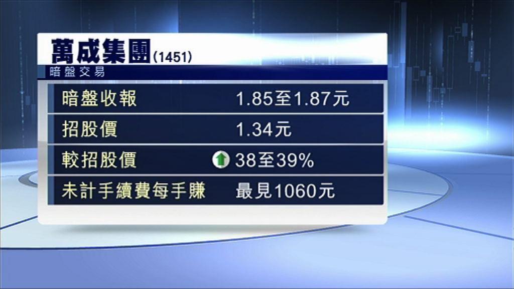 【新股回勇】萬成暗盤炒高近50% 每手帳賺過千