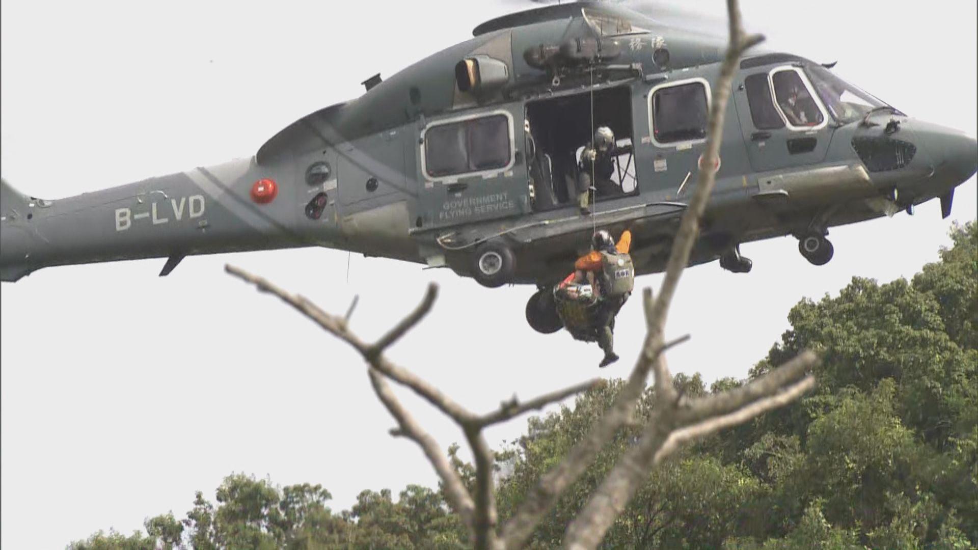 馬鞍山一男子墮瀑布受傷 由直升機送院