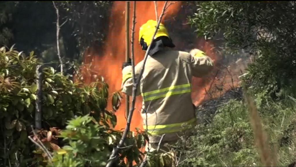 紅色火災警告下多處地點山火