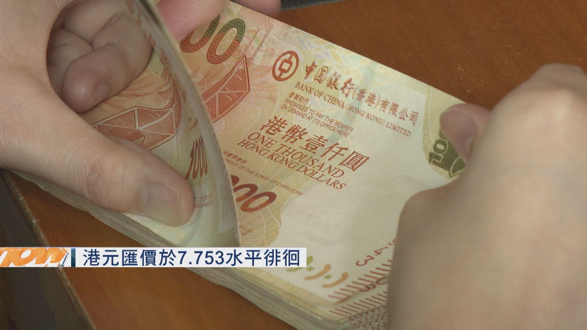 港元匯價於7.753水平徘徊