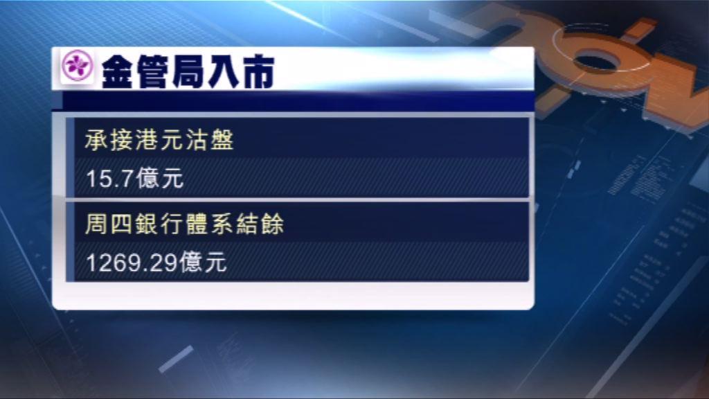 金管局再入市 承接逾15億港元沽盤