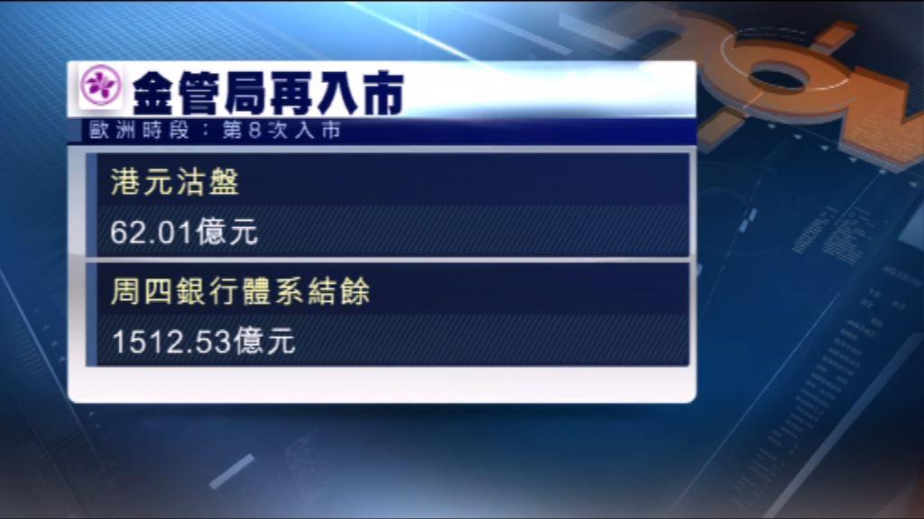 金管局第八度入市 承接62億港元沽盤