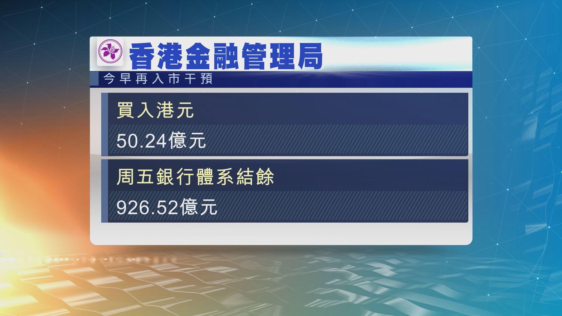 金管局4度入市 買入近168億港元