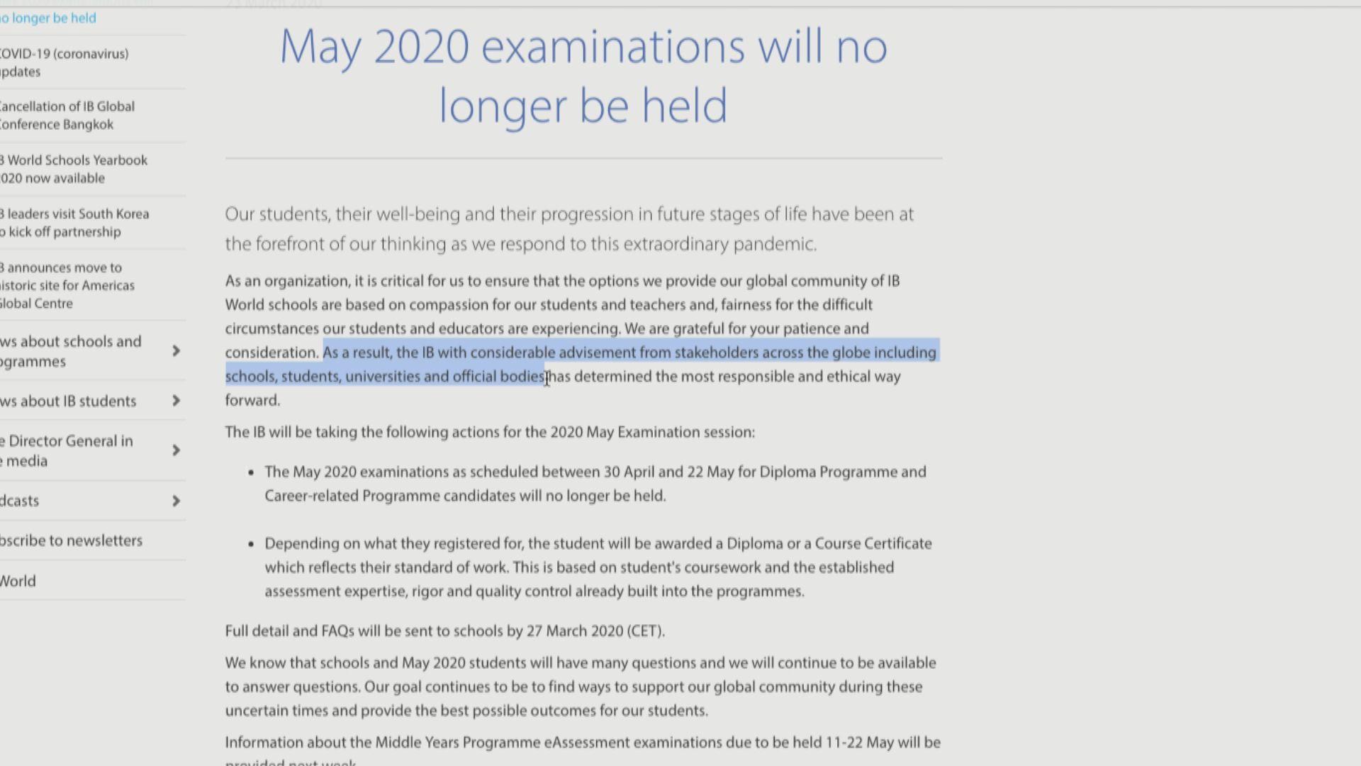 IB宣布取消考試 考生將獲發文憑或證書