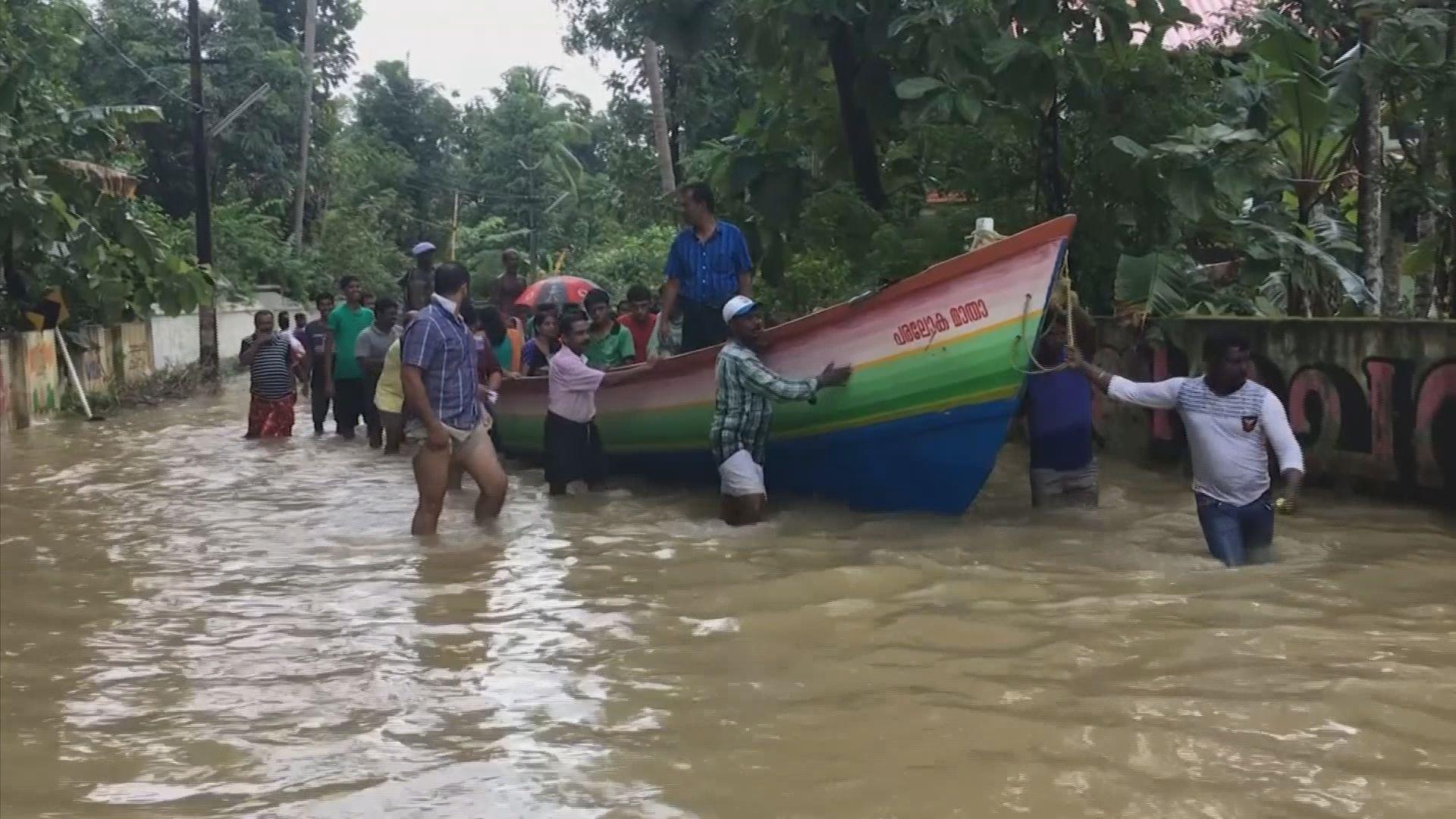 印度喀拉拉邦暴雨持續阻礙救災