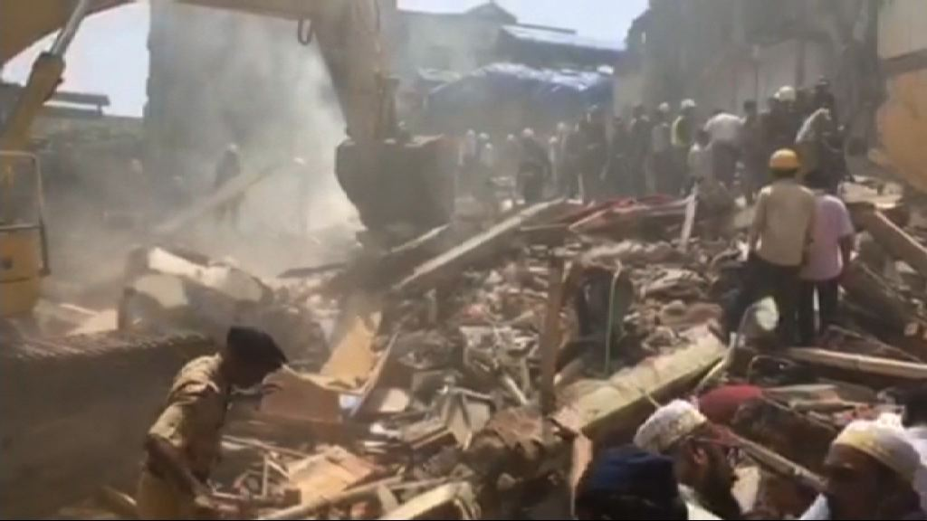印度孟買樓房倒塌多人被困