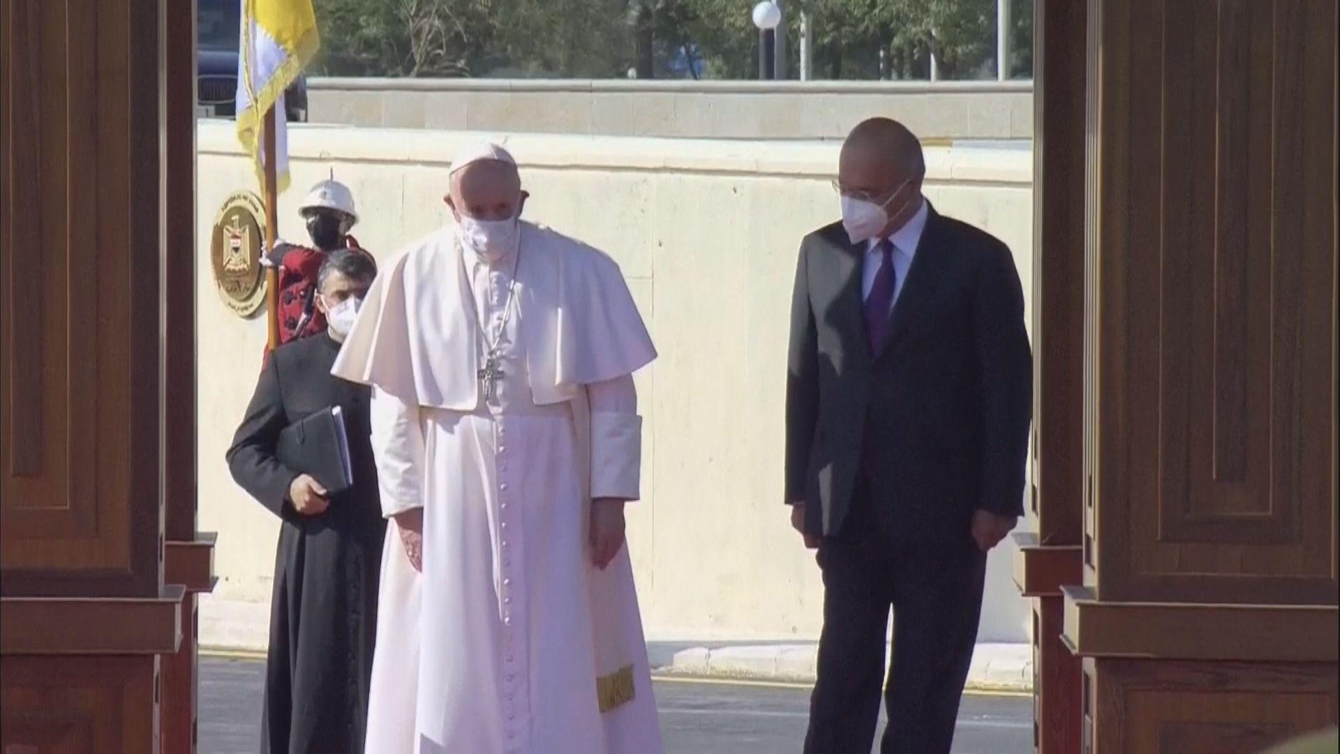 教宗方濟各抵達巴格達 到總統官邸出席官方歡迎儀式