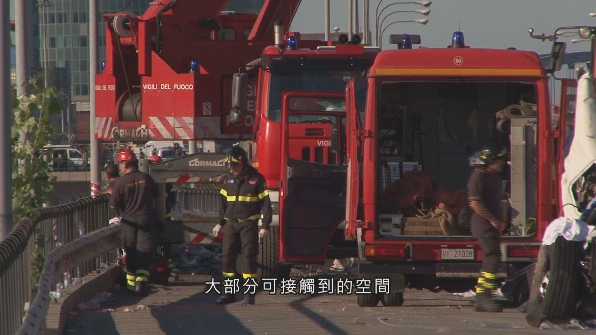意大利大橋倒塌 消防員將擴大搜索空間