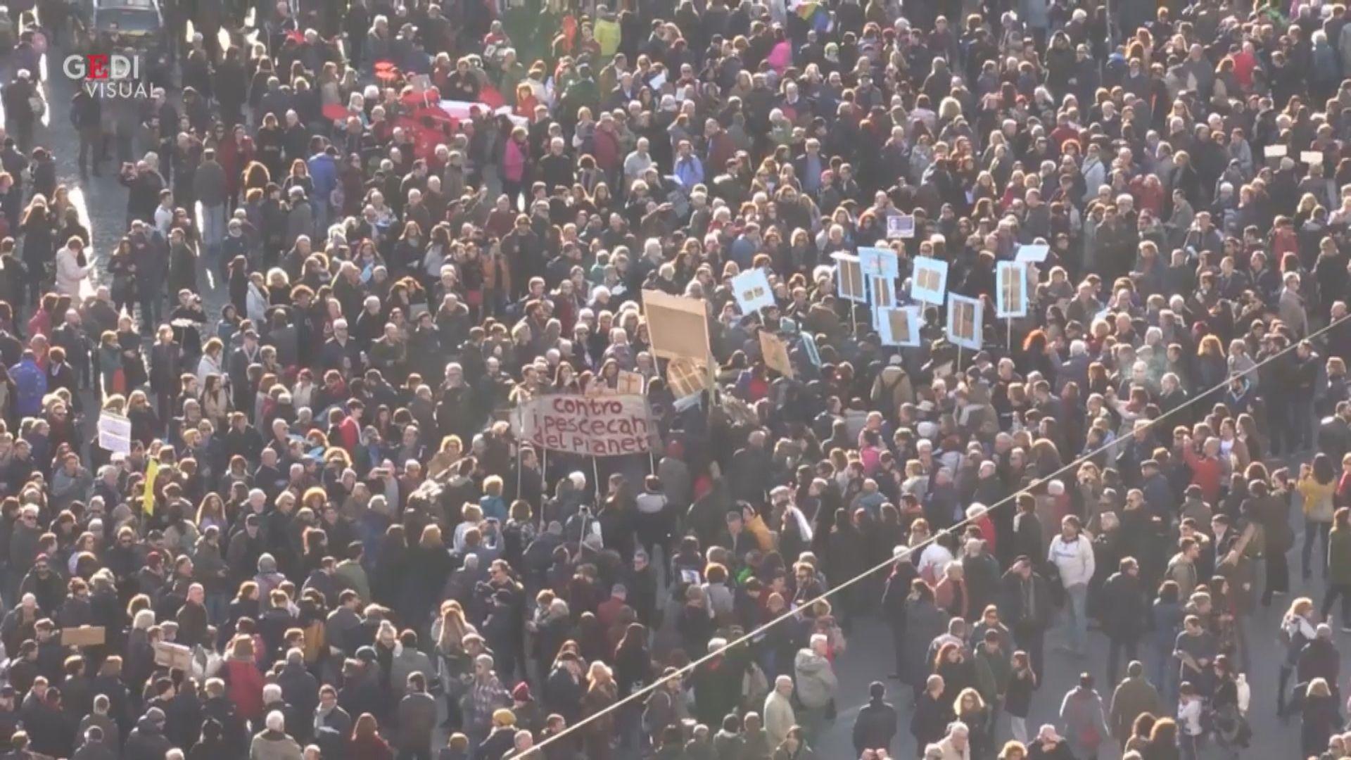 意大利羅馬逾十萬人參與沙甸魚示威反民粹