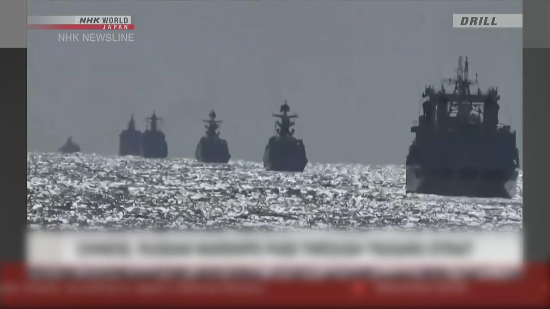 十艘中俄軍艦穿越日本津輕海峽