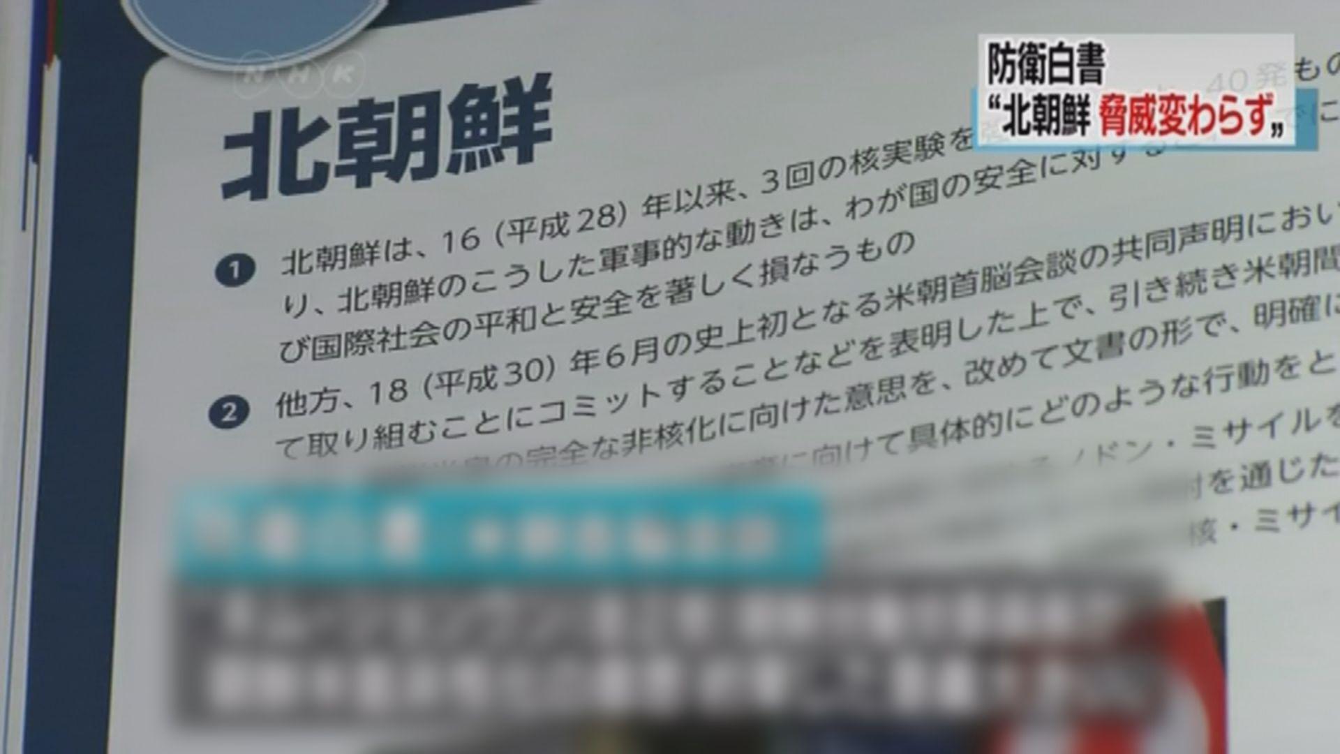 日本防衛白皮書視北韓為嚴重軍事威脅
