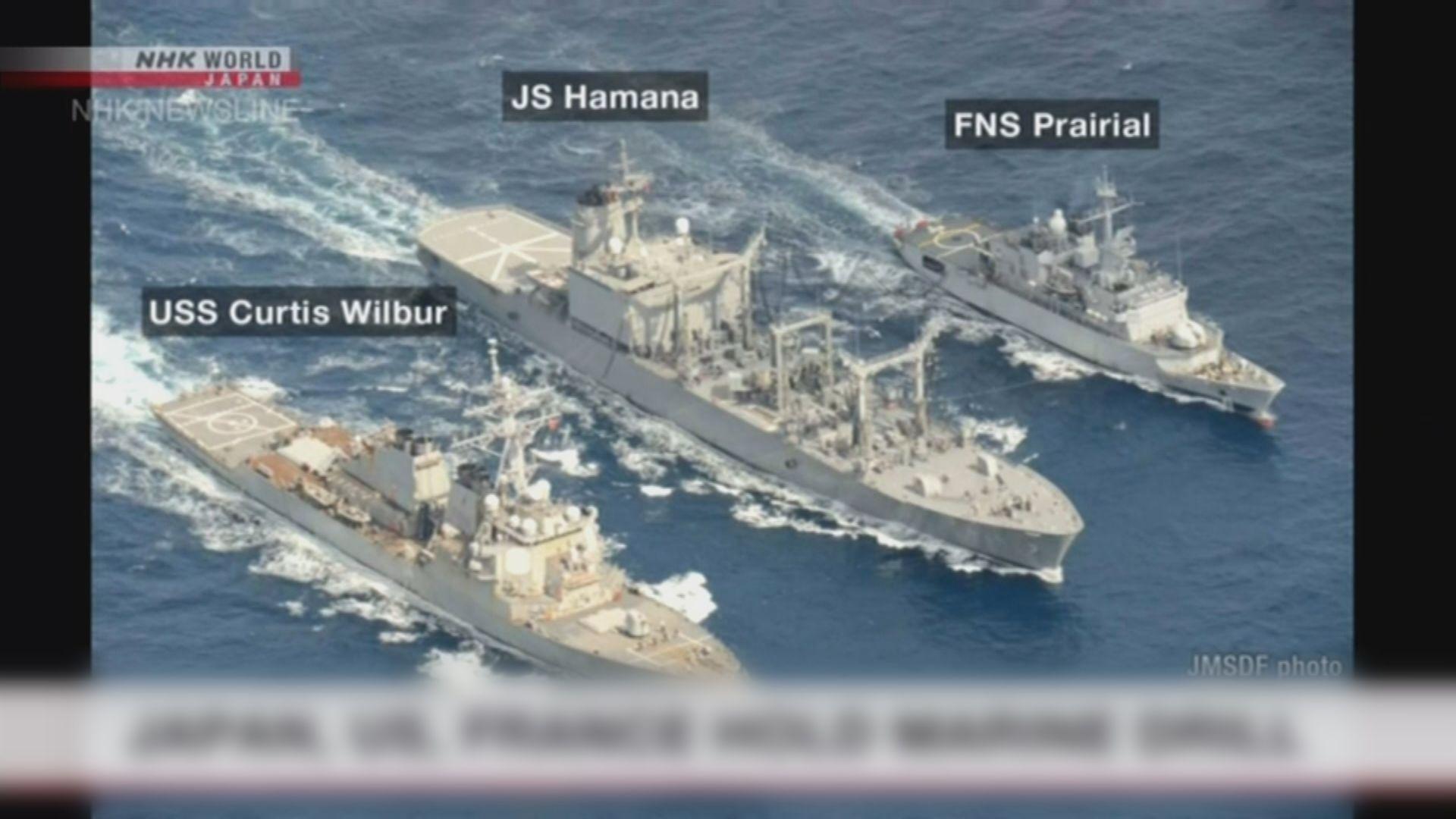 日美法艦艇在九州海域補給訓練