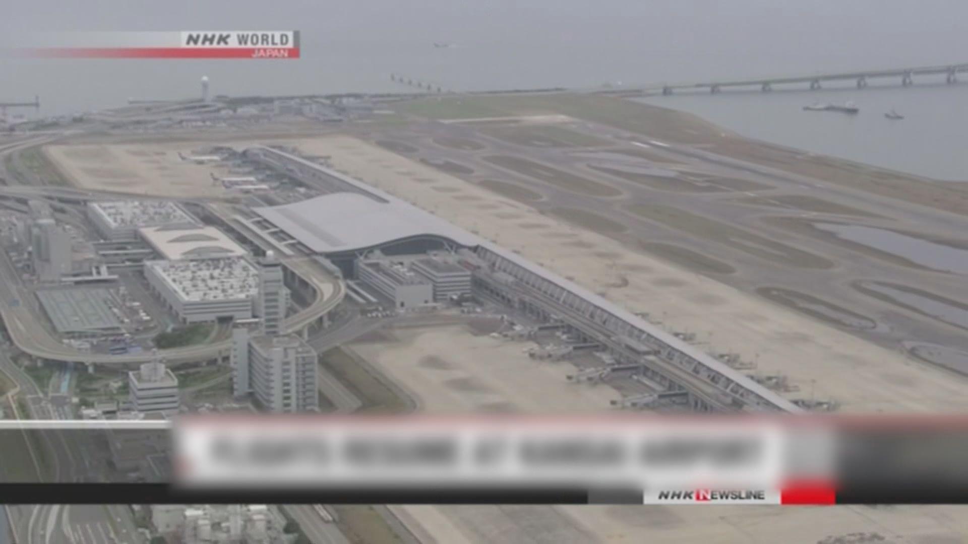 大阪關西國際機場重開 部分國內線恢復升降