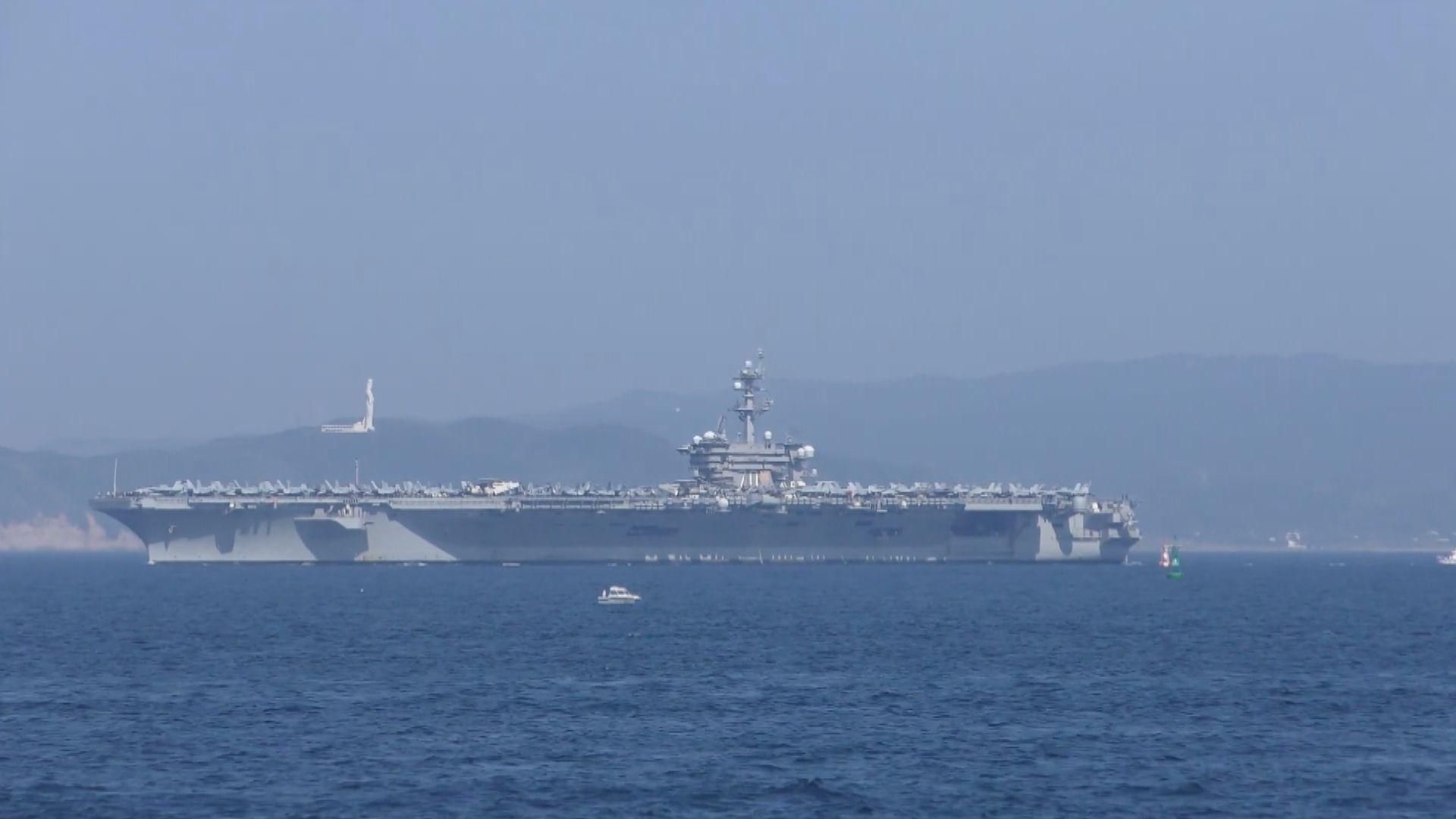 美航母卡爾文森號停靠日本橫須賀基地