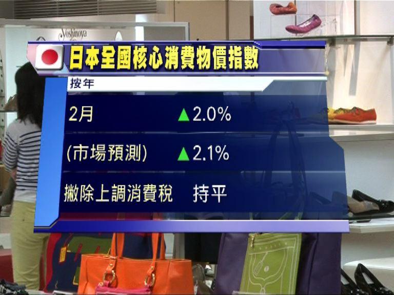 【再陷通縮】日本2月CPI零增長