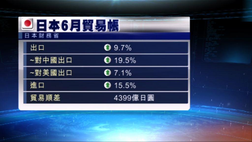 日本連續七個月出口錄得增長