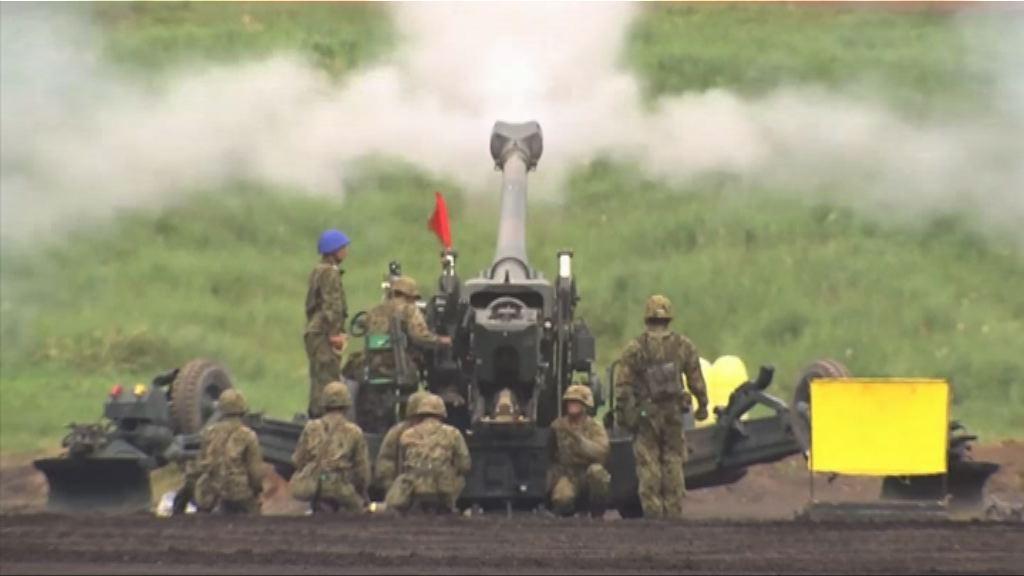日陸上自衛隊舉行年度實彈演習