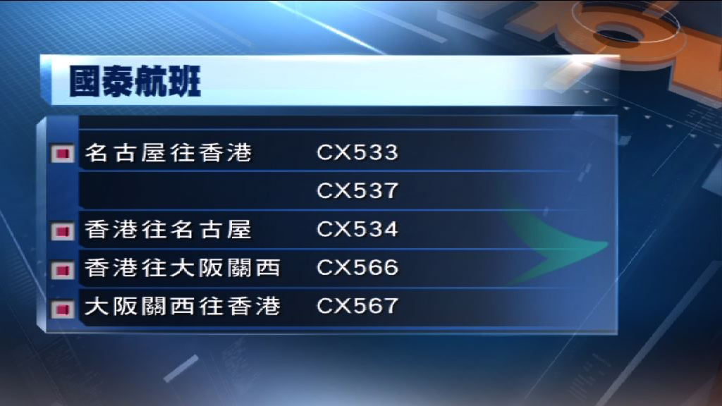 多班來往香港至日本航班延誤或延期