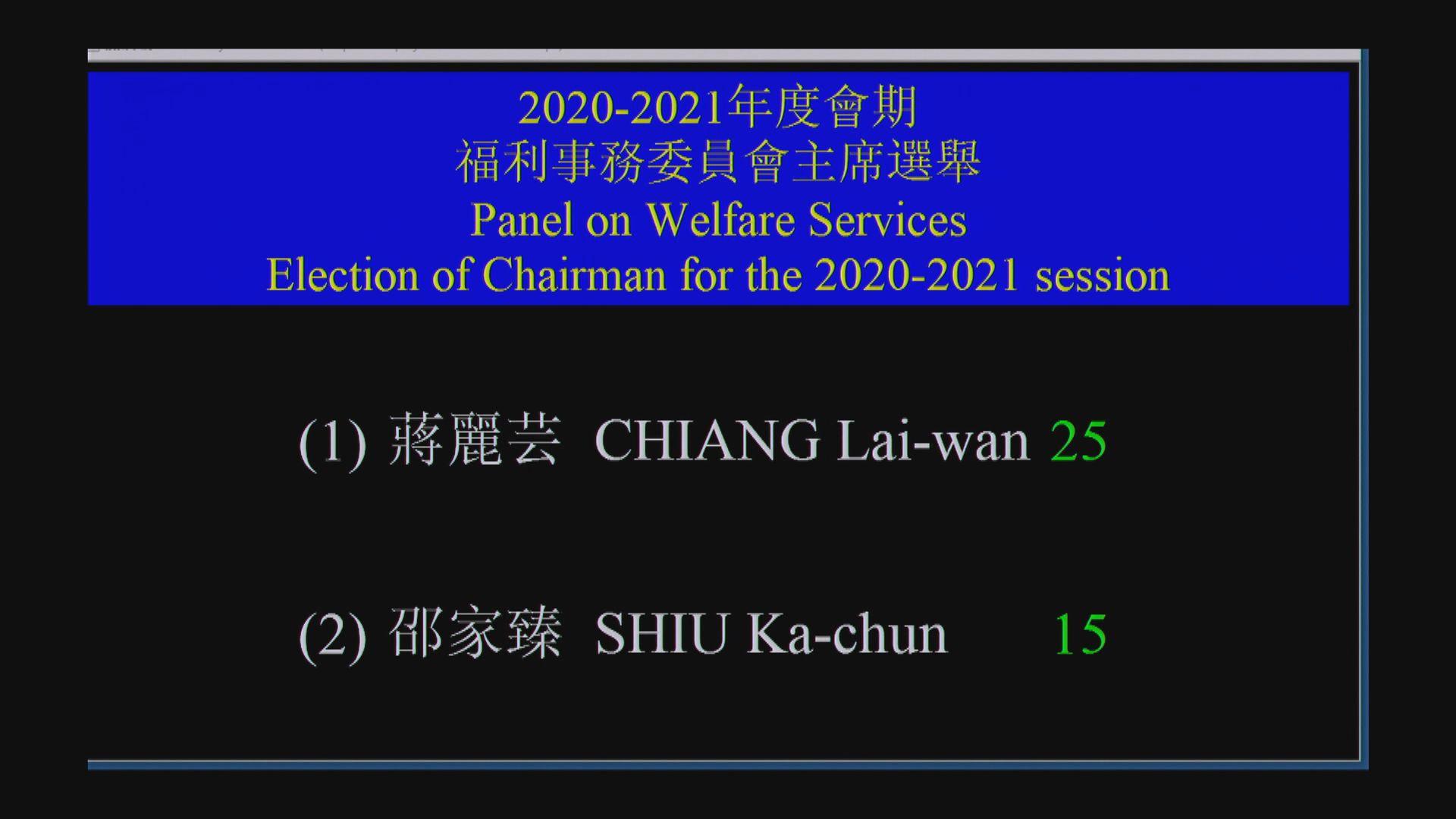 蔣麗芸當選立法會福利事務委員會主席