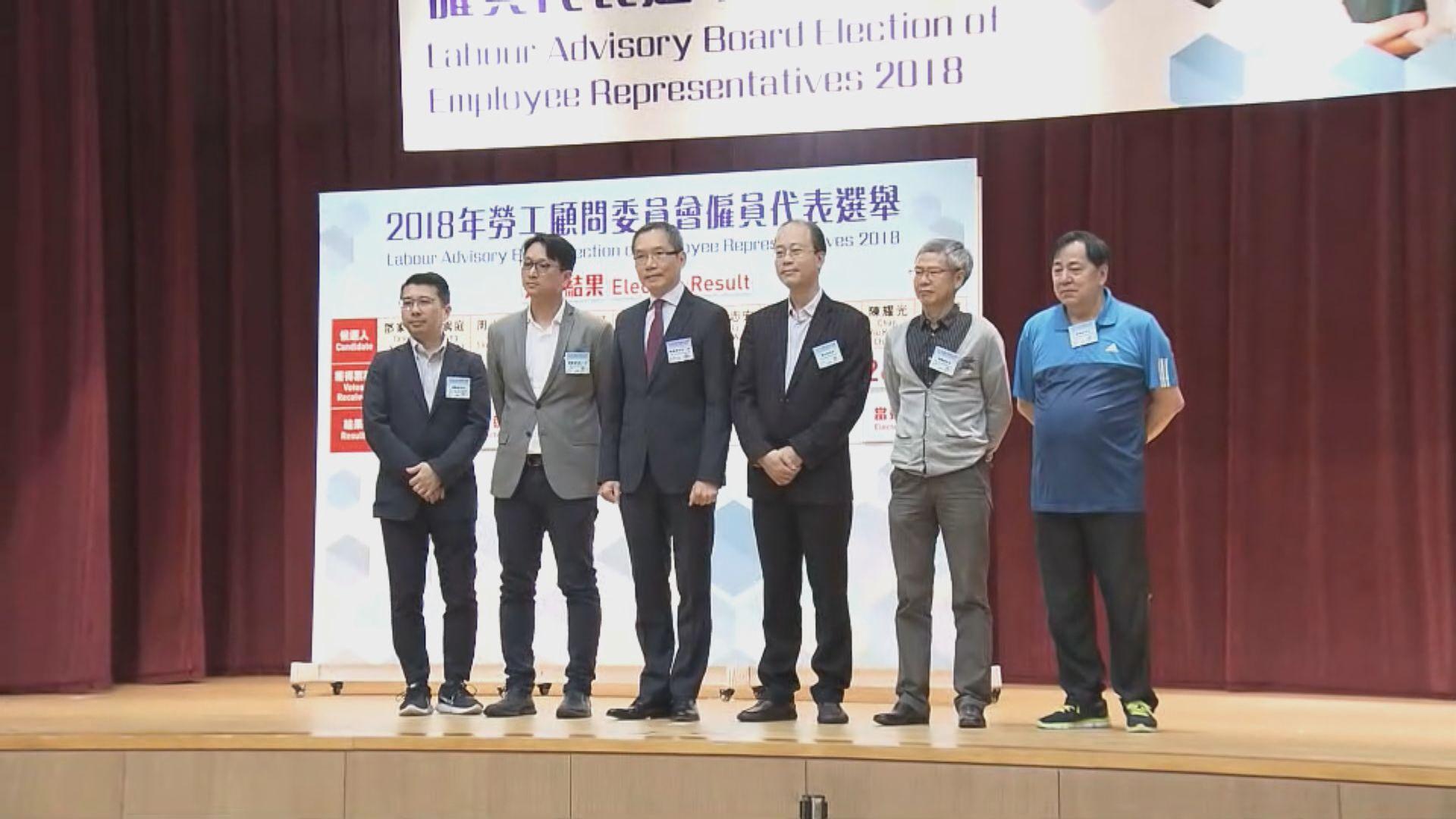 勞顧會代表選舉 有三名委員成功連任