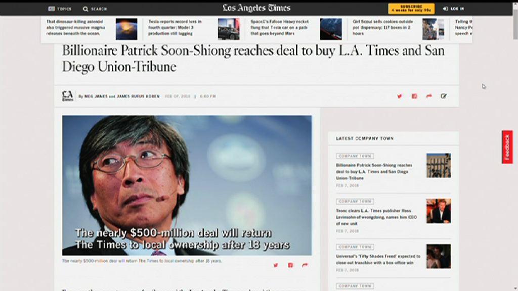 華裔富商以五億美元收購洛杉磯時報