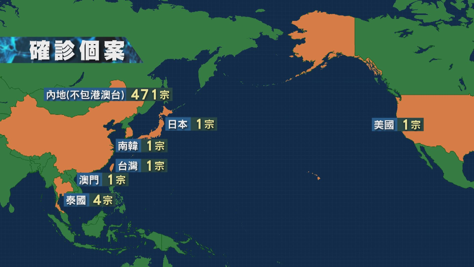 全球累計新型冠狀病毒肺炎病例增至480宗